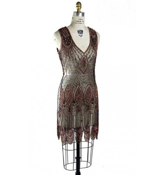 Great Gatsby Cocktail Dress in Copper/Jet by The Deco Haus