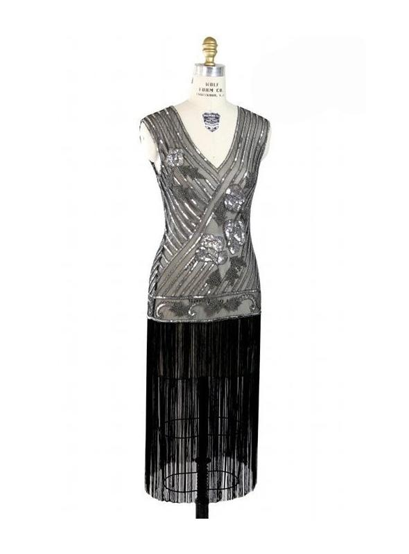 1920s Vintage Style Fringe Deco Dress in Silver/Black by The Deus Haus