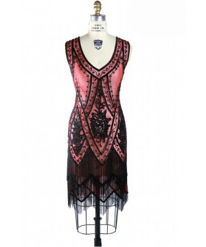 1920s Style Fringe Party Dress in Jet/Ruby by The Deco Haus