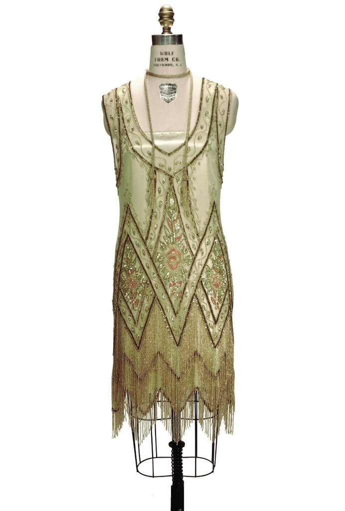 1920s Style Fringe Party Dress in Absinthe Gold
