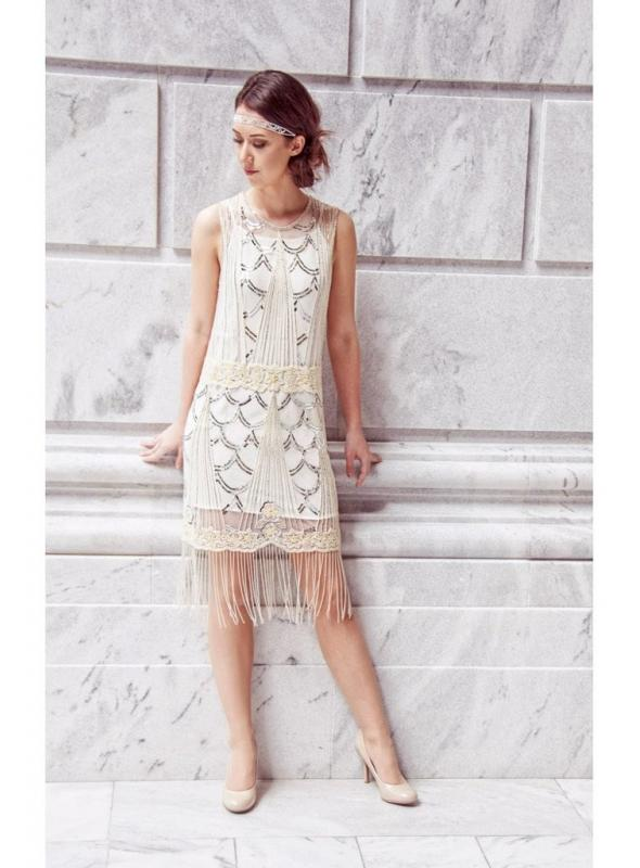 Roaring Twenties Luxury Deco White Dress by The Deco Haus