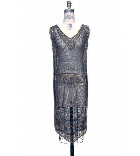 Great Gatsby Style Tabard Dress in Dark Blue by The Deco Haus