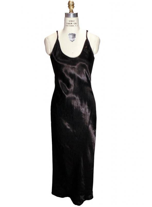 1930s Vintage Style Maxi Slip in Black by The Deco Haus