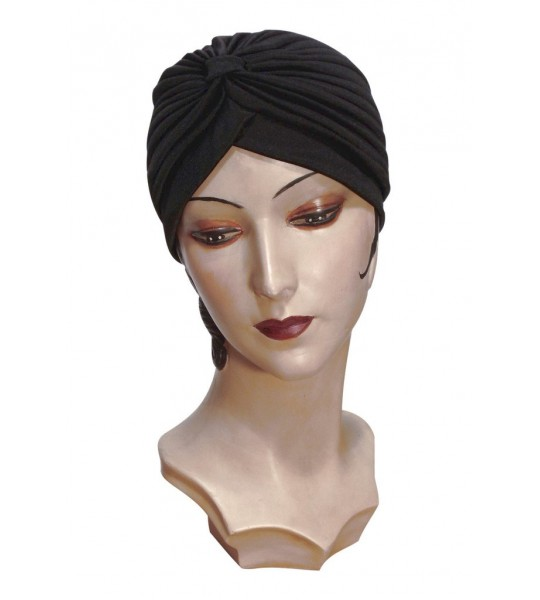 Roaring Twenties Evening Turban in Black by The Deco Haus