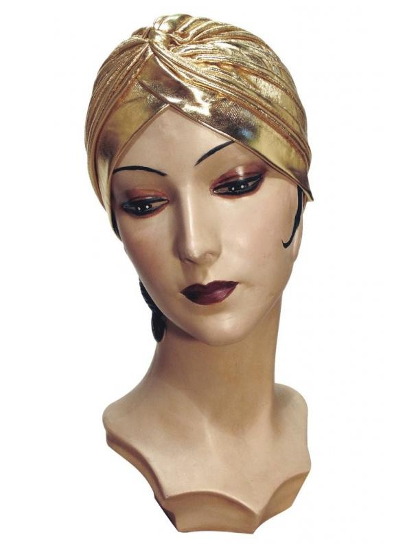 Roaring Twenties Evening Turban in Gold Lame by The Deco Haus