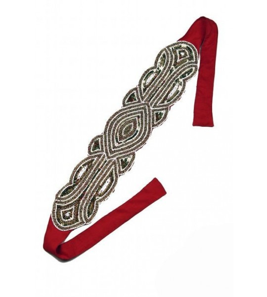 Great Gatsby Bandeau Style Headband in Gold/Scarlet by The Deco Haus