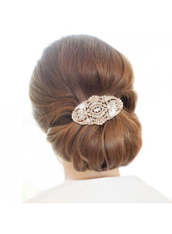 Vintage Inspired Bridal Hair Comb in Rose Gold by The Deco Haus