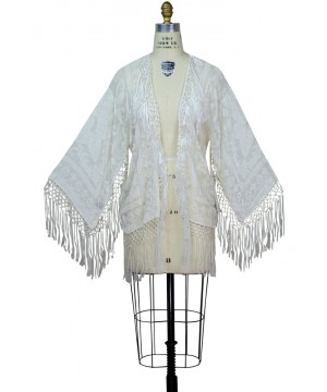 Art Deco Scarf Jacket in Ivory/White by The Deco Haus