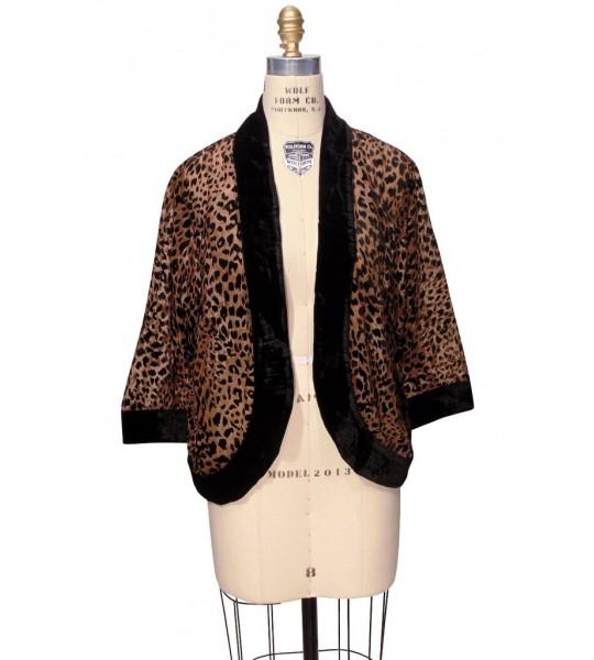 The Art Deco Bolero Smoking Jacket In Cheetah By The Deco Haus