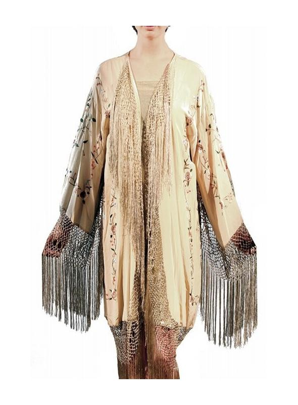 Roaring 20s Embroidered Lounging Robe in Bisque by The Deco Haus