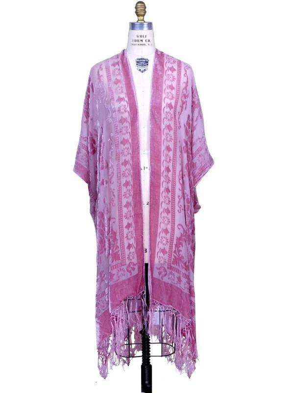 Flapper Style Fringe Evening Wrap in Rose/Pinkby The Deco Haus