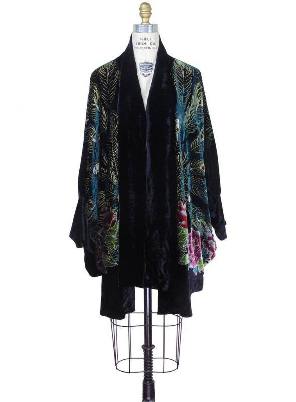 1920s Style Peacock Cocoon Coat in Black by The Deco Haus