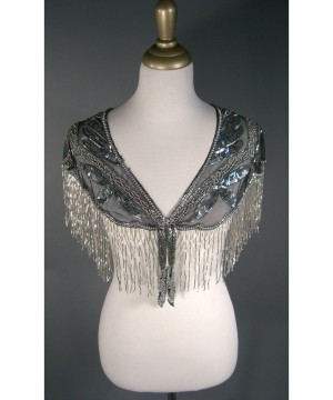 Great Gatsby Style Capelet in Silver/Jet by The Deco Haus