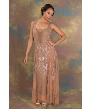 Enchanting Ivy Dress in Peach/Beige by Nataya