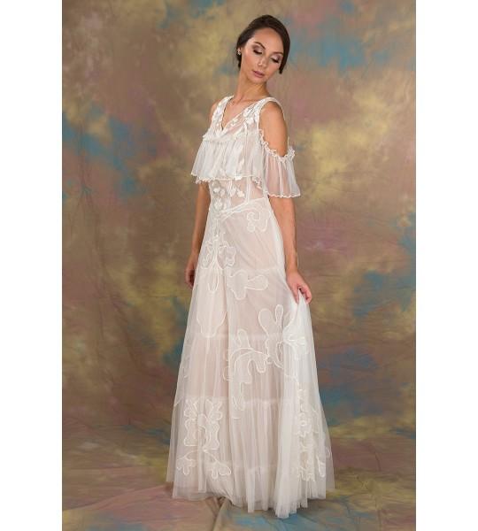 Lady of the Fog Dress in Ivory/Blush by Nataya