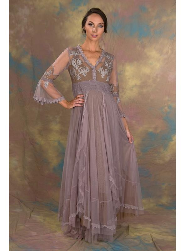 Bohemian Pompadour Dress in Lavender/Beige by Nataya