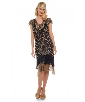 Art Deco Fringe Party Dress in Black Gold