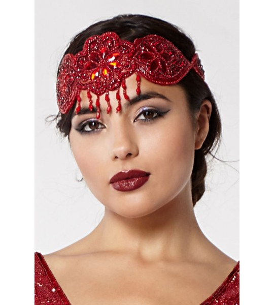 Gatsby Style Headband in Red