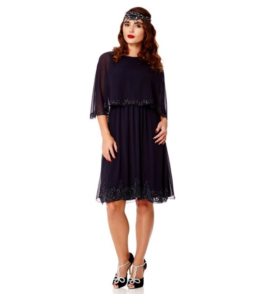 Flapper Style Cape Dress in Navy