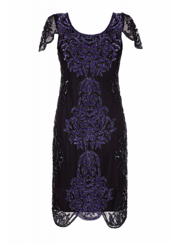 Great Gatsby Style Party Dress in Black Purple