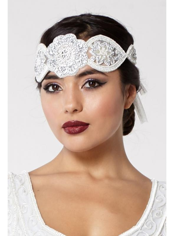 Roaring 20s Style Headband in Off White