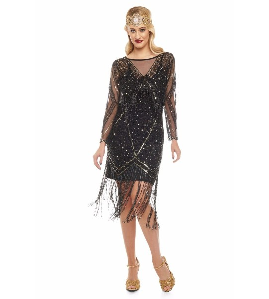 Charleston Fringe Party Dress in Black