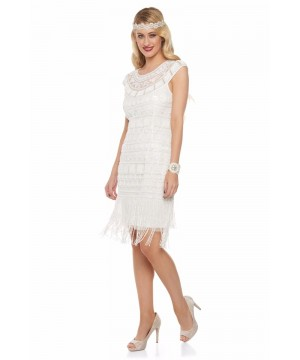 Great Gatsby Inspired Fringe Dress in Off White