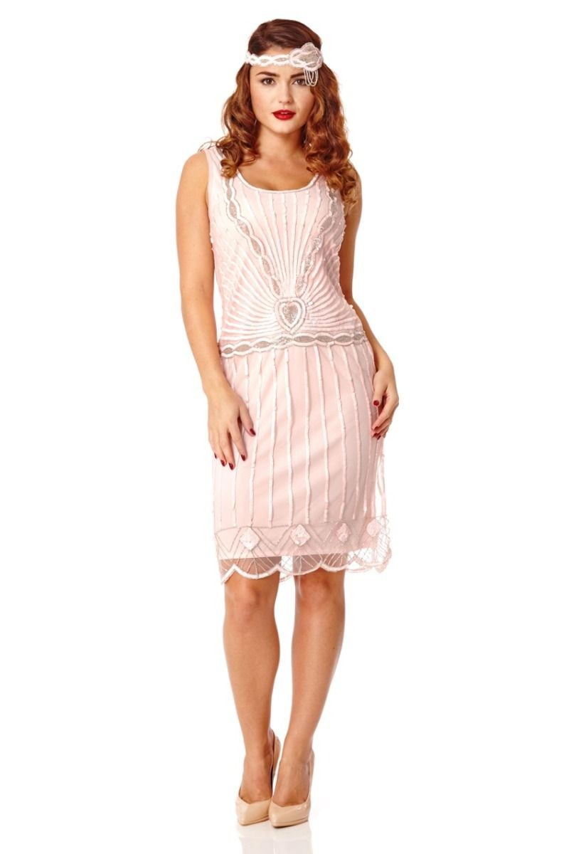 A Sleeveless Sequined Gatsby Style Tail Party Dress In Pink To For Perfect Summer Parties Occasions Where Black Can Seem Like Overkill