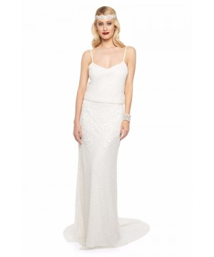 1920s Inspired Wedding Maxi Dress in Off White