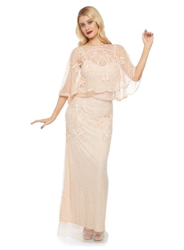 1920s Inspired Wedding Maxi Dress in Blush
