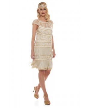 Roaring Twenties Fringe Party Dress in Ivory Gold