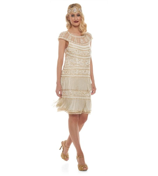 Roaring Twenties Fringe Party Dress in Ivory Gold