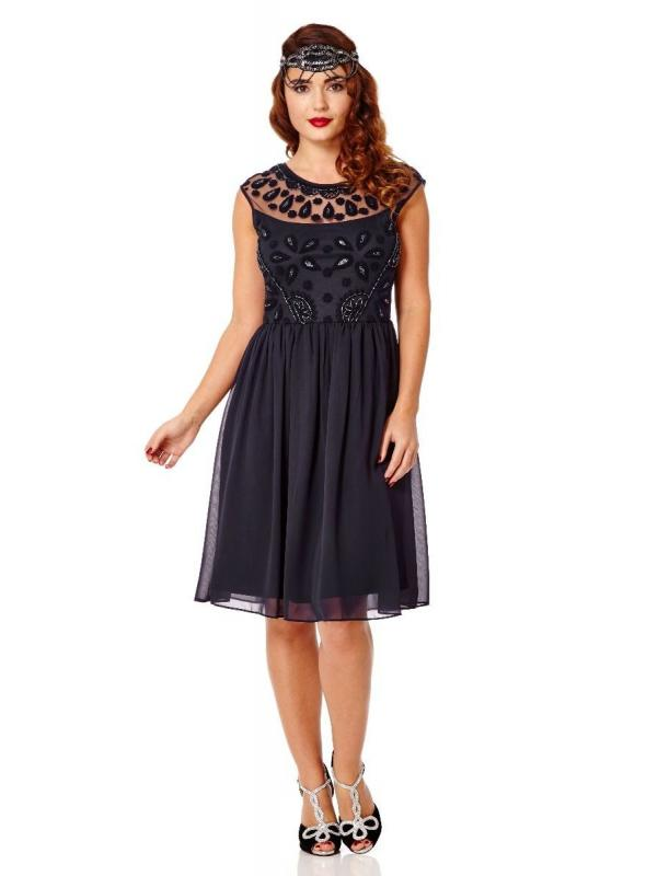 1920s Style Swing Flapper Dress in Navy