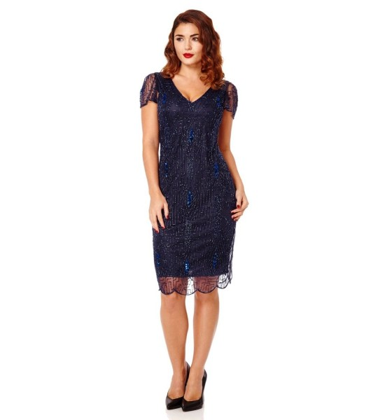 1920 Style Beaded Dress in Navy Blue