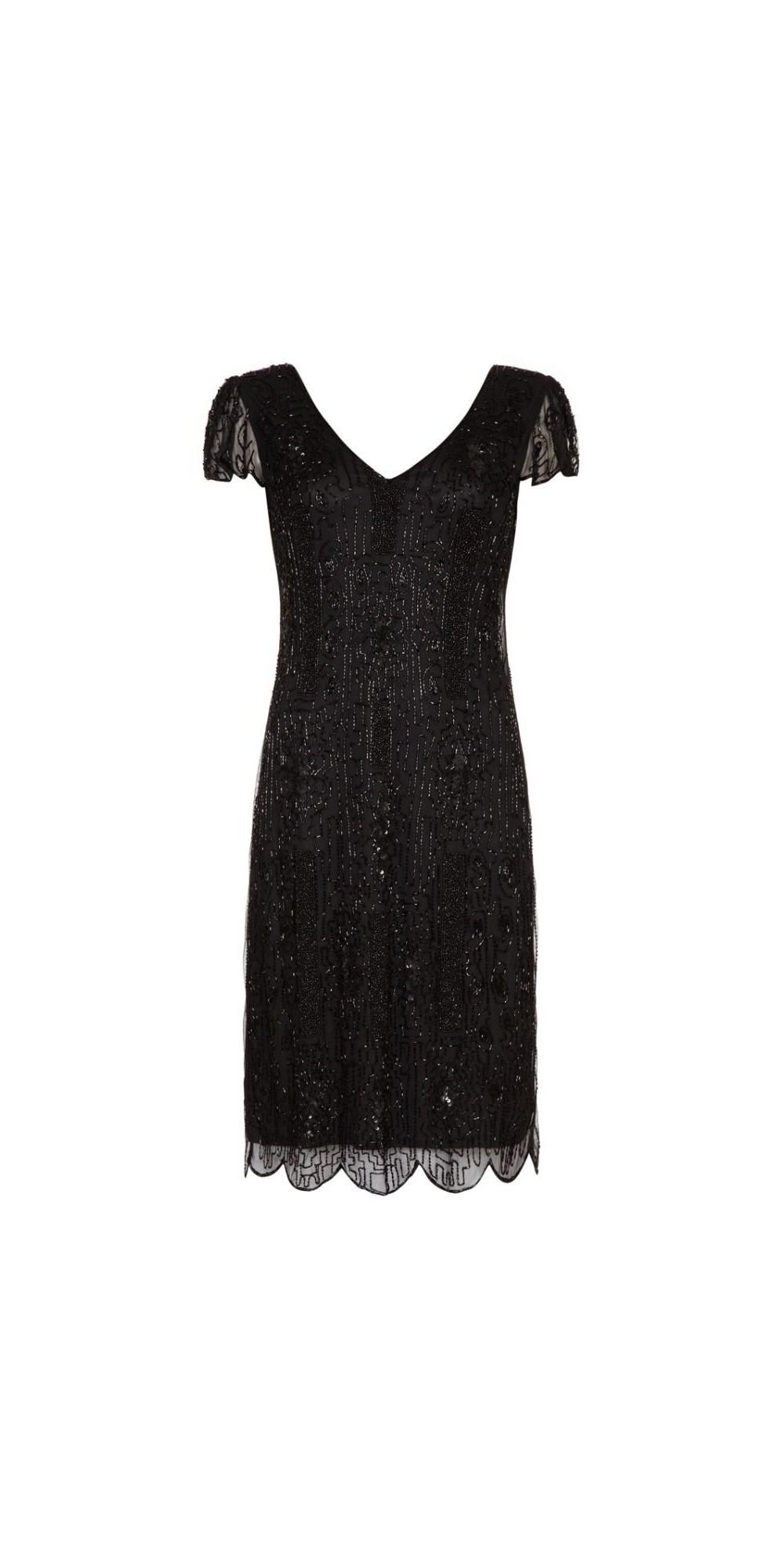 1920 Style Beaded Dress in Black
