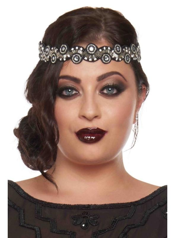 Flapper Style Headband in Black Silver