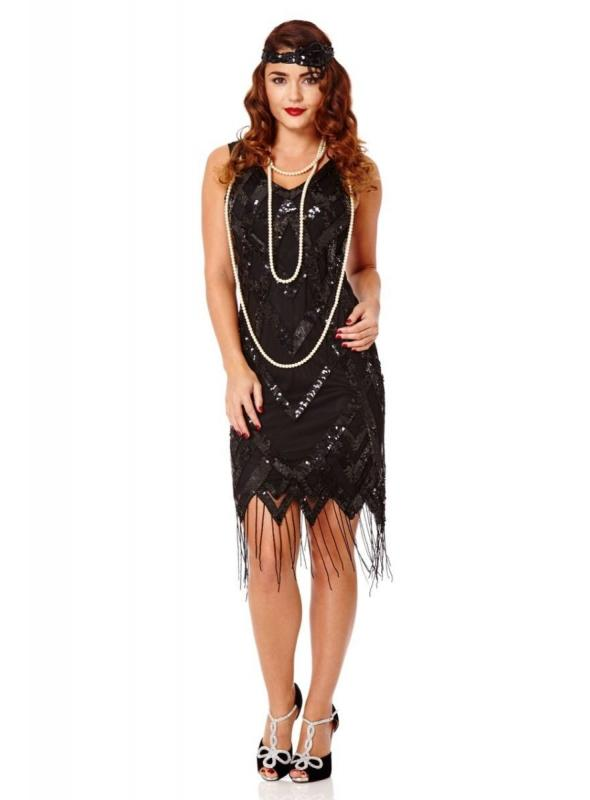 Gatsby Style Art Deco Fringe Dress in Black