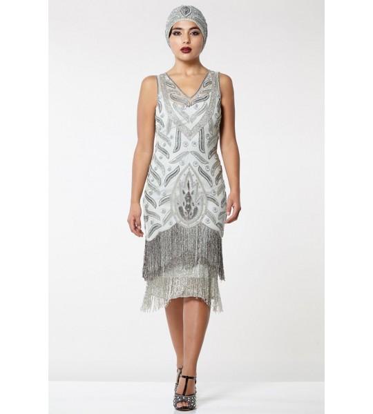 Old Hollywood Fringe Dress in Grey Silver
