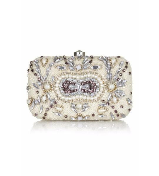 Gatsby Inspired Hand Beaded Bag in Cream
