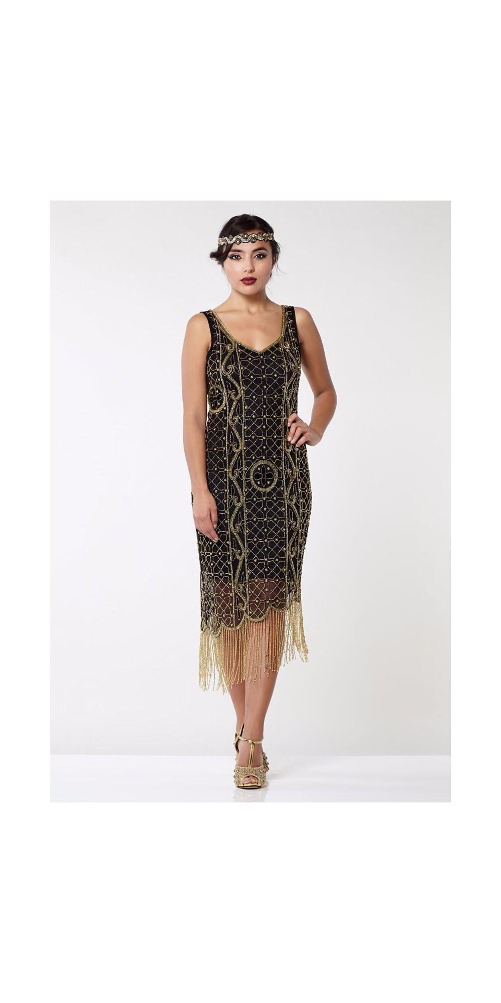 ae65c7a868dd Great Gatsby Fringe Party Dress in Black Gold