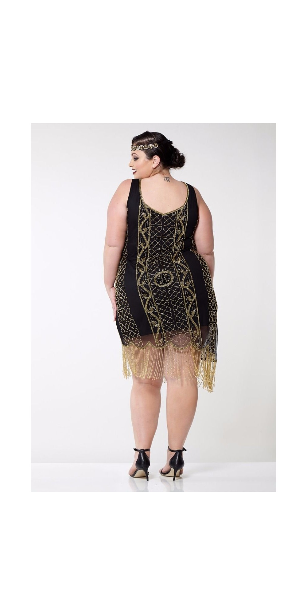 Great Gatsby Fringe Party Dress In Black Gold