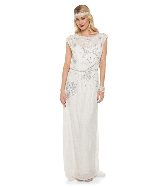Roaring Twenties Beaded Maxi Dress in Off-White