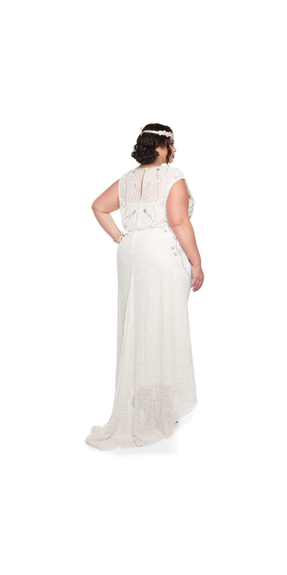 roaring twenties beaded maxi dress in offwhite