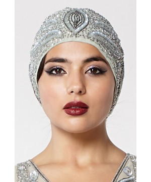 Vintage Inspired Flapper Cap in Grey Silver