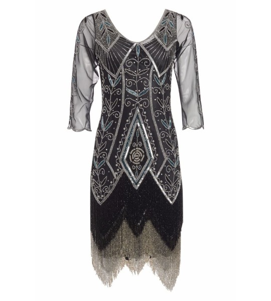 1920s Deco Fringe Party Dress in Black Silver