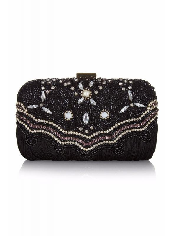 Flapper Style Hand Beaded Fringe Clutch Bag in Black