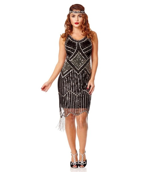 Great Gatsby Fringe Party Dress in Black