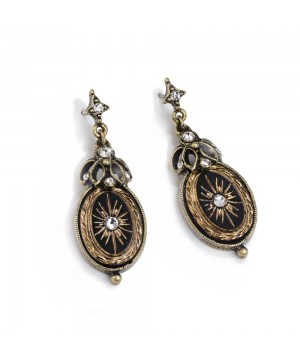 Victorian Style Jet Starburst Earrings