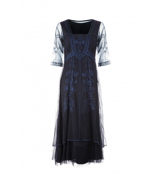 Mary CL-202 Vintage Style Party Dress in Sapphire by Nataya
