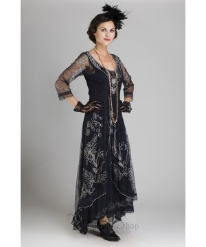 Downton Abbey Tea Party Gown in Sapphire by Nataya